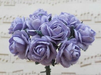 100! Cute Handmade Mulberry Paper Roses - 10mm - Pale Purple Rose Embellishments