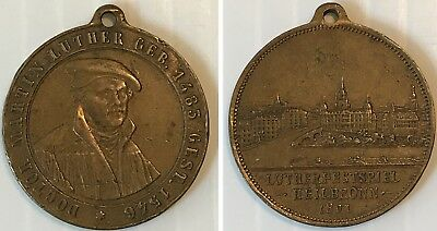 Antique Bronze Medal MARTIN LUTHER Luther Festival Night HEILBRONN 1891