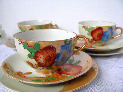 Eggshell Porcelain Poppy Teacup Trios - 3 Antique Sets Cup, Saucer, Lunch Plate