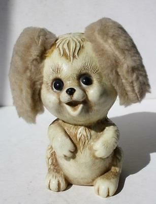 Puppy Dog Figurine Coin Bank w-Fluffy Ears Plastic Made in USA Adorable-Vintage