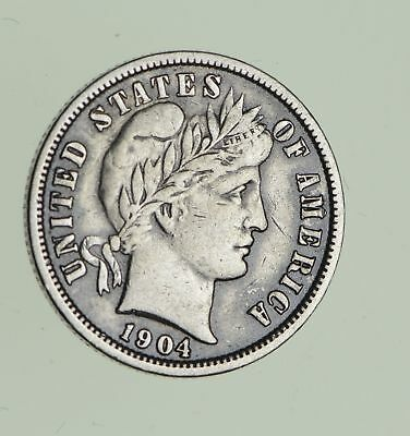 Higher Grade - 1904 Barber Liberty US Silver Dime - Great Detail in LIBERTY *958
