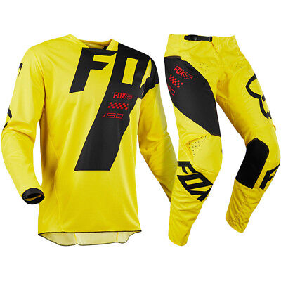 FOX RACING 180 Mastar Yellow MX Adult Pants With FREE Matching Jersey **SPECIAL*