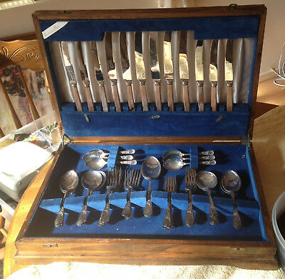 vintage cutlery set cavaliers epns with wooden box