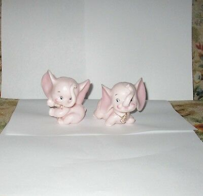 Vintage Bisque Pink Elephant Figurines -Made in JAPAN - A/44