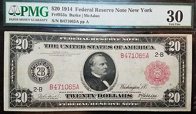 DH Fr 953a 1914 $20 Red Seal Federal Reserve Note VF 30