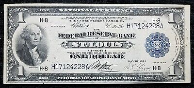 DH Fr 732 $1 1918 Federal Reserve Bank Note St Louis VF-XF