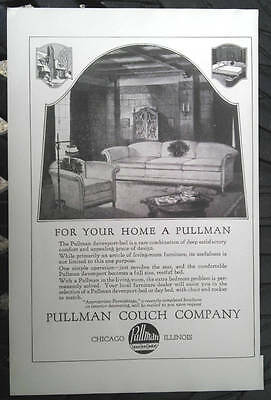 1923 Pullman couch hide a bed Davenport Original Print advertising vintage