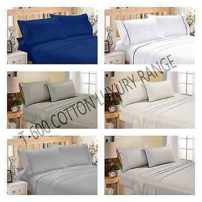 QUEEN/KING SIZE FLAT,FITTED SHEET SET WITH PILLOW CASE COTTON T600 Bed Sheet