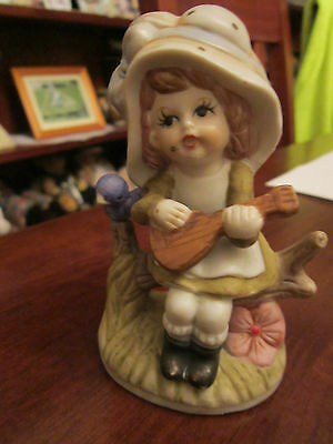 VINTAGE BISQUE PORCELAIN GIRL WITH MANDOLIN FIGURINE - 12cm.-Price reduction