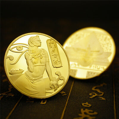 Egyptian Ancient Goddess Isis Egypt Pyramid Collectable Coin Gold collector gift