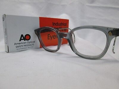 Custom American Optical Eyeglasses Gray Clear Poly 48 Safety Frame Cable Temples