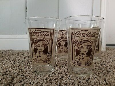 5 pc Drink Coca Cola Soda Fountain Vintage Lady Woman Flair Glass Brown Rare