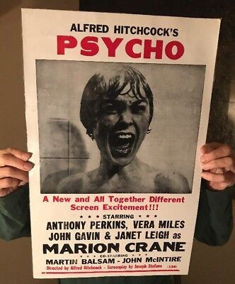 "Vintage 22""x14"" Alfred Hitchcock's Psycho Movie Show Poster Sign Horror Film HTF"
