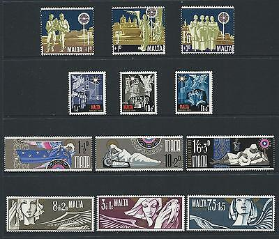 1969-72 MALTA Semi Postals - Christmas Sets MNH (Scott B1-B12)