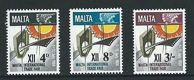 1968 MALTA 12th Trade Fair Set MNH (Scott 384-386)