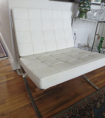 Barcelona Chair Style Modern White Leather And Chrome