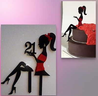 Elegant Lady any age silhouette girl, woman,fairy,acrylic cake topper decoration