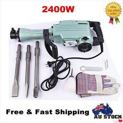 2400W Heavy Duty Electric Demolition Jack Hammer Concrete Breaker W/Case, Gloves