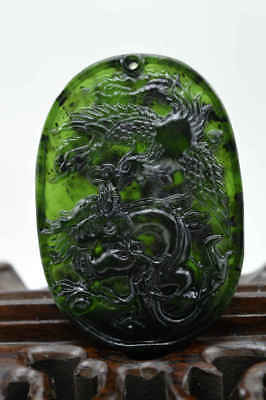 100% Chinese Natural Jade Carving Jade Dragon and Phoenix Pendant