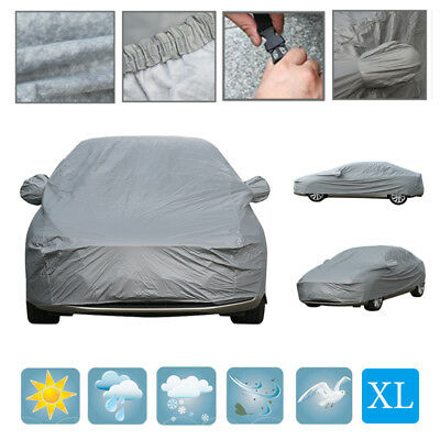 XL Car Cover Waterproof Cotton Lining Anti Scratch Breathable UV Rain Protect UK