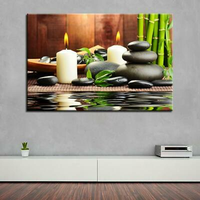 Canvas Art HD Prints Pictures Wall Art 1 pc Bamboo Stone Candles Painting Fra...