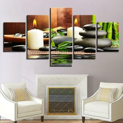Canvas Wall Art 5 Pieces Bamboo Candles Stones HD Print Framed or Unframed PE...