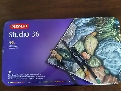 Derwent Studio Coloured Pencils in Tin Case - 36 Pack