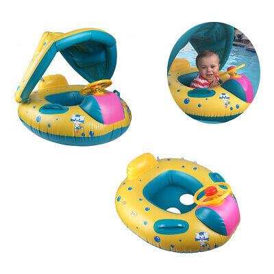 Kids Inflatable Baby Float Seat Boat Sun Shade Water Swimming Pool Beach Boat UK