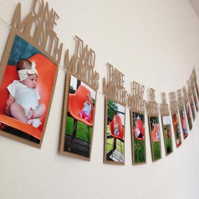 1-12 Month Baby Photo Frame Birthday Monthly Banner Garlands Holder Hanging NEW