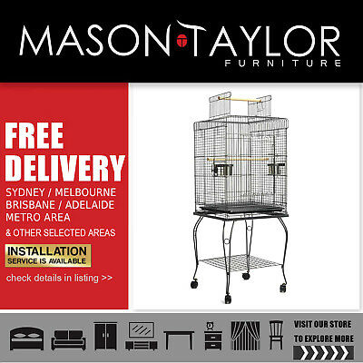 Mason Taylor 145cm Bird Cage with Stand Alone Budgie  Perch - Black AU