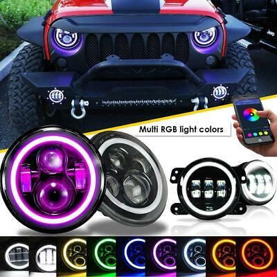 "7"" LED RGB Halo Headlights + Fog Light Combo Kit for Jeep Wrangler JK 2007-2018"