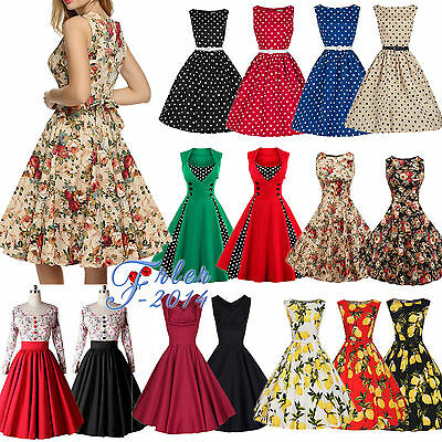 Women 50s 60s Rockabilly Dress Vintage Swing Pinup Retro Housewife Party Dress