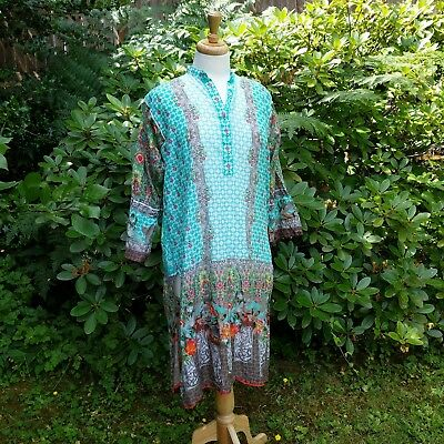 J Pret Women Floral Ethnic Tunic 100% Cotton Green Pakistan Made XL Extra Large