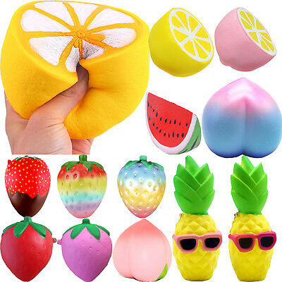 Jumbo Squishy Lemon Strawberry Fruit Scented Super Slow Rising Squeeze Fun Toys