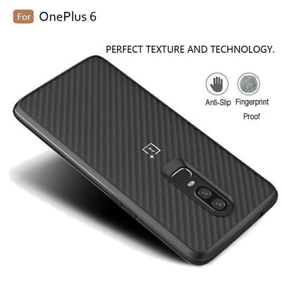 For OnePlus 6 5T 5 Carbon Fiber Nylon Pattern Hybrid Protective Case Back Cover