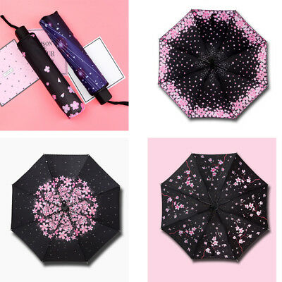 Anti-UV Sun Rain Umbrella Parasol Protection Windproof Flower Folding Travel Hot