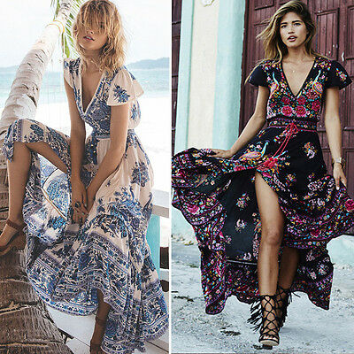 Summer Women's Floral Boho Long Maxi Dress Evening Party Cocktail Beach Sundress