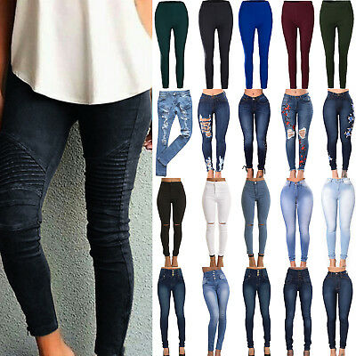 Womens Skinny Pants Jeggings Distressed Slim High Waisted Jeans Pencil Trousers