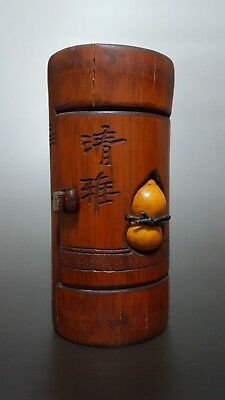 Antique Hand-carved bamboo cricket jar inset with a Gourd.