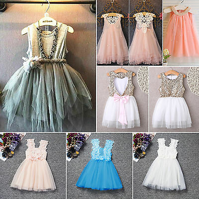 Kids Girls Lace Flower Princess Tulle Tutu Dress Party Prom Wedding Bridesmaid