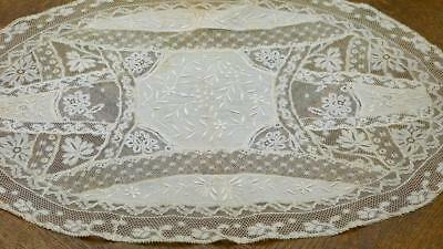 """GORGEOUS FRENCH 19THC NORMANDY LACE TABLE-RUNNER CREAM COLOR 19x14"""""""