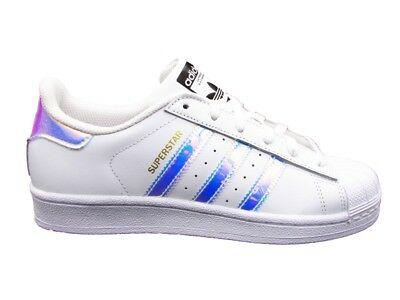 Adidas Superstar J Sneakers Bianco Argento Aq6278