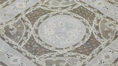 """GORGEOUS FRENCH 19THC NORMANDY LACE SQUARE CREAM COLOR 14x14"""" B86"""