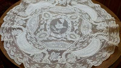 """Gorgeous French 19Thc Normandy Lace Table-Centre Cream Color 22""""round B85"""