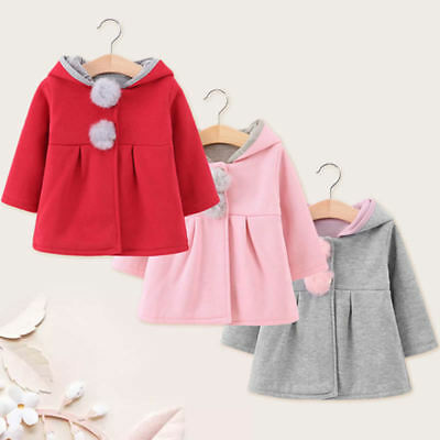 Infant Kids Girls Rabbit Ear Coat Hooded Top Hoodies Jacket Winter Warm Outfits