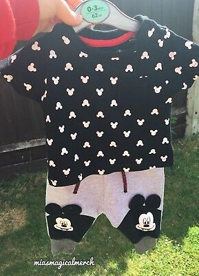 BNWT Primark Baby Boy's Disney Mickey Mouse T-Shirt & Sweatpants 2 Piece Outfit