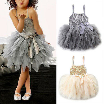 Infant Girls Kids Sequins Tulle Tutu Dress Strappy Bowknot Party Wedding Pageant