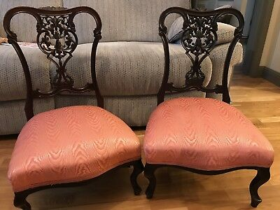 Pair Of Late 19th Century Victorian Mahogany Salon Chairs With Upholstered Seats
