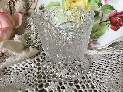 Vintage Avon Glass Footed Candy Dish / Sorbet Cup, Daisy Flower, 3-D Diamond Cut