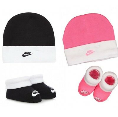 New Nike New Born Baby Block Hat and Booties  Babies Boys Girls Black Or Pink